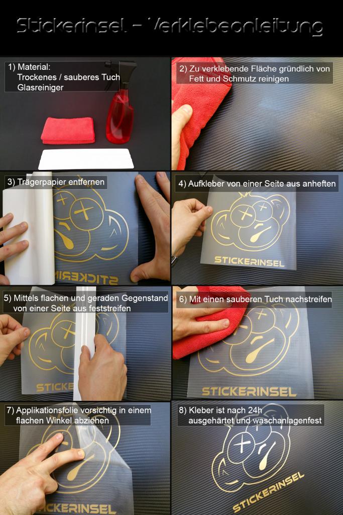 Stickerinsel Verklebeanleitung
